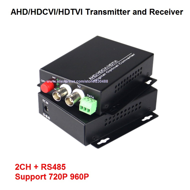 2 Channel 720P/960P HD CVI/AHD/TVI Converter Fiber Optic To BNC Digital Video Converter Fiber Optical Transmitter And Receiver