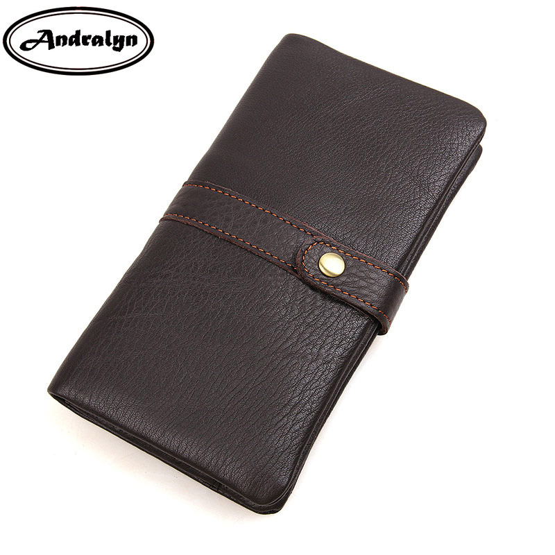 Andralyn Brand High-end Genuine Leather Wallet Women&men Clutch Long Card Holder Passport Wallets Men's Business Purse luxury brand women genuine leather passport wallet travel wallets money purse with passport cover and license card holder case