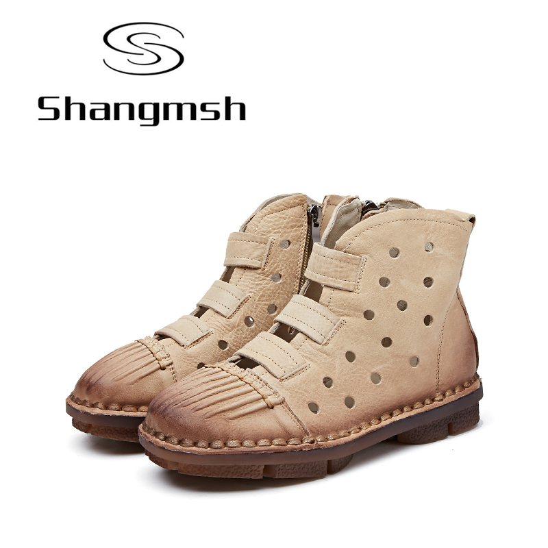 Shangmsh Handmade Women Shoes Flat Ankle Boots For Women 2018 Spring Genuine Leather Female Boots Round Toe Casual Boots front lace up casual ankle boots autumn vintage brown new booties flat genuine leather suede shoes round toe fall female fashion