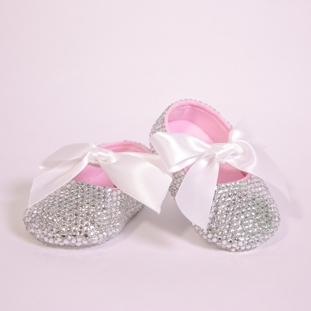 All Covered Clear Sparkle Bling out White Ribbon Bow Custom Handmade  Christening 0-1 Princess 5b0238a63876