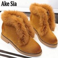 Ake Sia Women S Autumn Winter Snow Warmth Brushed Hairy Cotton Martin Fluff Open Boots Bottine