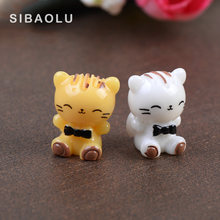 Cat figures decorative for the mini fairy garden animals statue miniature Moss micro landscape ornaments resin craft(China)