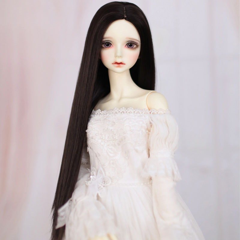 1/3 1/4 1/6 1/8 Bjd SD Doll Wig High Temperature Wire Long Straight Black Colors BJD Doll Hair
