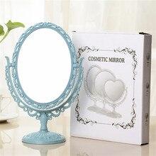 3 цвета розовый синий тщеславие косметические зеркала инструмент 2 стороны зеркало для макияжа Овальный Форма настольная подставка компактное зеркало Пластик комод