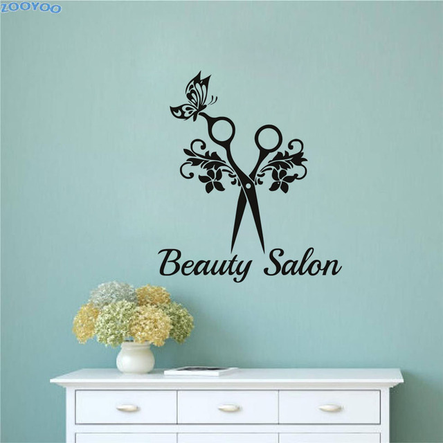 ZOOYOO Beauty Salon Wall Sticker Art Scissors Butterfly Vinyl Wall Decals  Waterproof Removable Decoration For Barbershop
