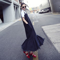 Europe Women Lotus Leaf Stitching Strap Dress Korean Tassel Fishtail Dress Boy Harness Dress Autumn New Denim Dress