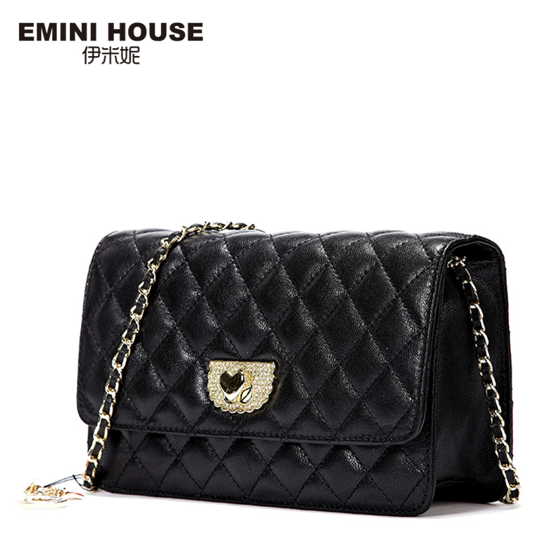 EMINI HOUSE Diamond Lattice Sheepskin Chain Bag Women Shoulder Bags Crossbody Bags For Women Genuine Leather Messenger Mini Bag fashion sheepskin mini women bag retro small fragrant bag chain diamond lattice small shoulder bags hasp women messenger bags