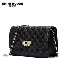 Emini house diamante celosía cadena de piel de oveja bolsa de hombro de las mujeres bolsos crossbody de las mujeres del mensajero del cuero genuino mini bolso