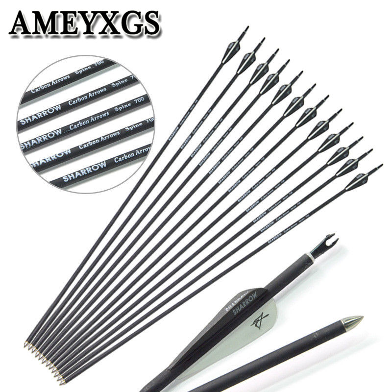 "12Pcs Spine 700 Archery Carbon Arrow 31"" Carbon Arrows For Compound Recurve Bow Outdoor Hunting Shooting Accessories-in Bow & Arrow from Sports & Entertainment"
