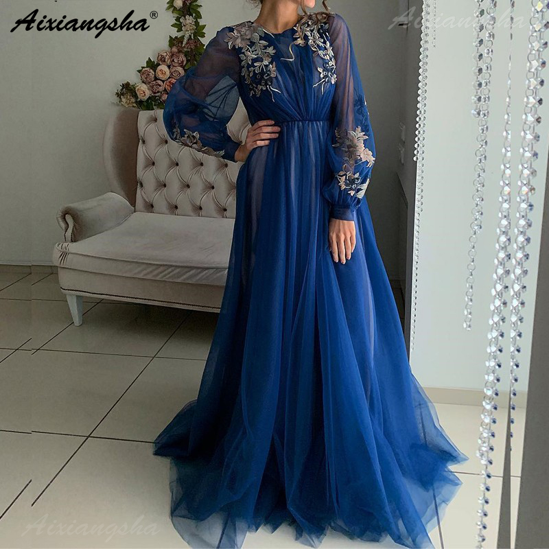 Royal Blue Muslim Evening Dresses 2019 A-line Lace Appliques Flowers Tulle Islamic Dubai Saudi Arabic Long Sleeves Evening Gown