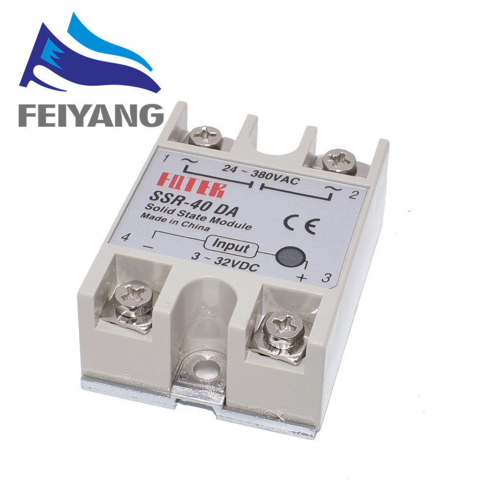 10PCS SSR-40DA SSR-60DA SSR-25DA DC to AC Solid State Relay Module Temperature Controller 24V-380V 25A 250V/40A 250V/60A 250V