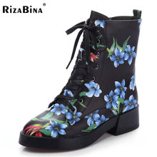 RizaBina Size 34-41 Women Real Leather Mid Calf High Heel Boots Print Cross Strap Boots Fur Shoes In Winter Botas Women Footwear