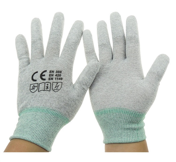 1 Pairs Antistatic ESD PU Fit Coated Gloves Electronic Working Gloves Safety Gloves ESD Glove Safety 1pair antistatic gloves anti static esd electronic working gloves pu coated palm coated finger pc antiskid for finger protection