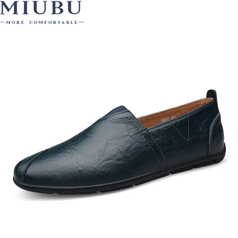 MIUBU New arrival Low price Mens Breathable High Quality Casual Shoes Leather Slip On men Fashion Flats Loafers