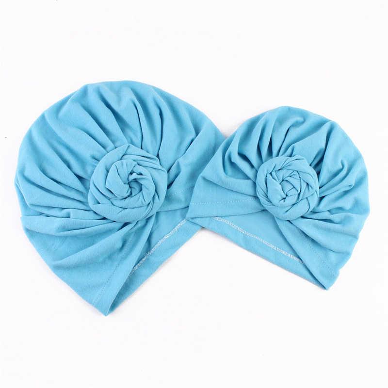 แฟชั่นแม่ลูกสาวหมวกลูกอมสีสาว Turban Knot Beanie หมวกเด็กแรกเกิดหมวกเด็กหญิงหมวกฤดูใบไม้ร่วงผ้าฝ้ายเด็กแถบ