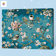 Frameless Digital Painting By Number Bird on Flower Snow Acrylic Paint Abstract Modern Wall Art Canvas Painting For Home Deco