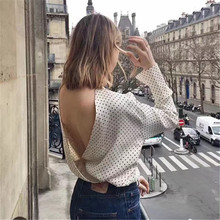 Vintage Women Long Sleeve Open Back Blouses White O-Neck Backless Polka Dot Shirts