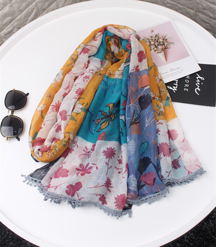 KYQIAO women's   scarf   mori girls daughter spring winter Japanese style pastoralism long print patchwork neck   scarf     wraps