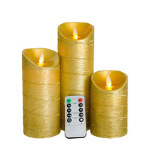 Christmas Gold  Flameless LED Electronic Candles Lights Moving Wick Candles Lamps With Remote and Timer For Home Decoration