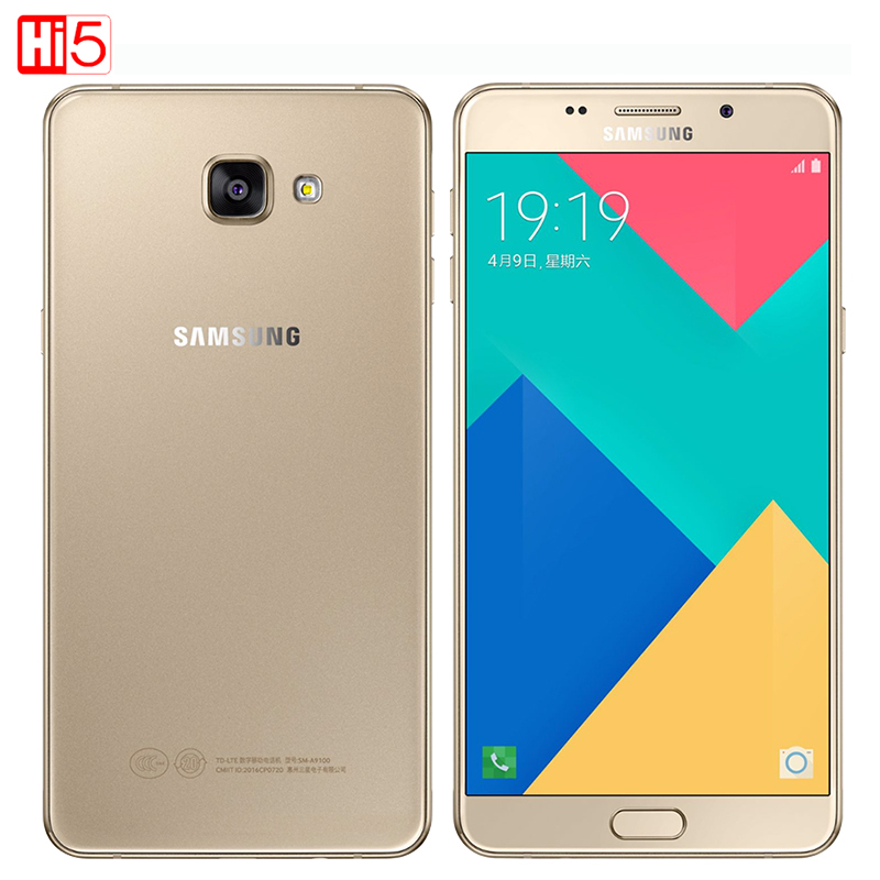 Samsung Galaxy A9 A9100 Cell Phones 6 inch 1920x1080 Pixels 16.0MP Octa core 4GB RAM 32GB ROM Dual Sim Card LTE Mobile Phone