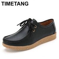 TIMETANG Hot Koop Flats Vrouwen Schoenen Leer Vrouwelijke Platform Schoenen Antislip Schoenen Lace-up Casual Ronde Neus schoenen 6 Kleuren, 6060B