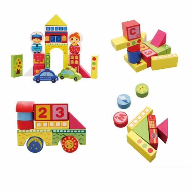 Us 2807 44 Offcity Traffic Scene Baby Wooden Bricks Building Blocks Toys Children Cartoon Images Learning Wood Kids Basic Stacking Toys In Puzzles