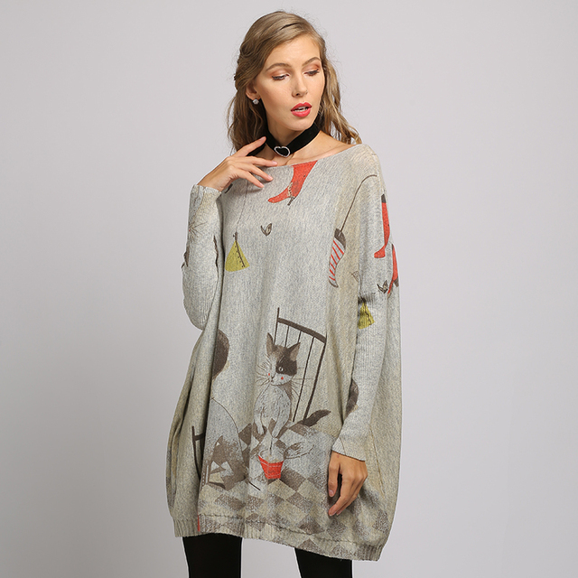 XIKOI  sweater dress Fashion Casual Home cat cartoon Print Oversize Long Batwing Sleeve Pullovers O-Neck Knitted Clothes 1