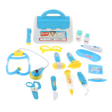 15pcs Kid Baby Doctor Nurse Kit Playsets w/ Carry Case Educational Pretend Role Play Game Toy Gift Blue(China)