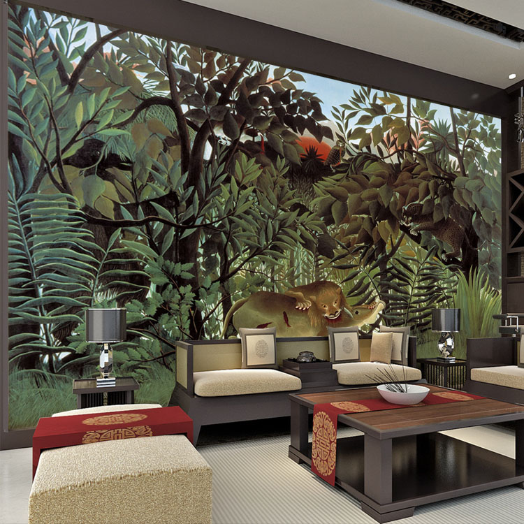 Buy rousseau jungle painting wallpaper for Custom mural wall covering