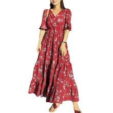 Женский, с цветочным принтом, летнее платье в Корейском стиле Для женщин короткий рукав окна кирпичной стены красных листьев цветок длинные шифоновые женские платья Vestidos с S-XL