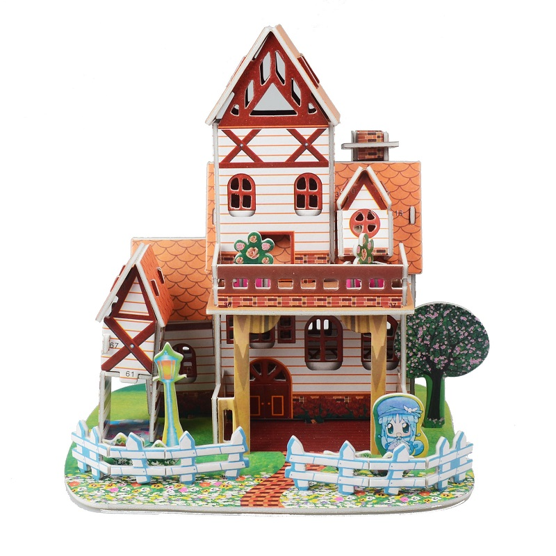 Toys for children puzzle game dIY children's intellectual toy 3-6 years old bubble 3D puzzle children's handmade warm villa