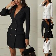 Autumn Winter Suit Women Long Blazer Casual Double Breasted Pocket Jackets Women