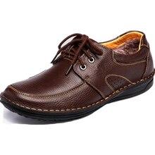 2017 neue Männer Echtes Leder Wohnungen Oxfords Schuhe Plattform Winterschuhe Casual Men Schuhe Mit Plüsch Größe 39-44