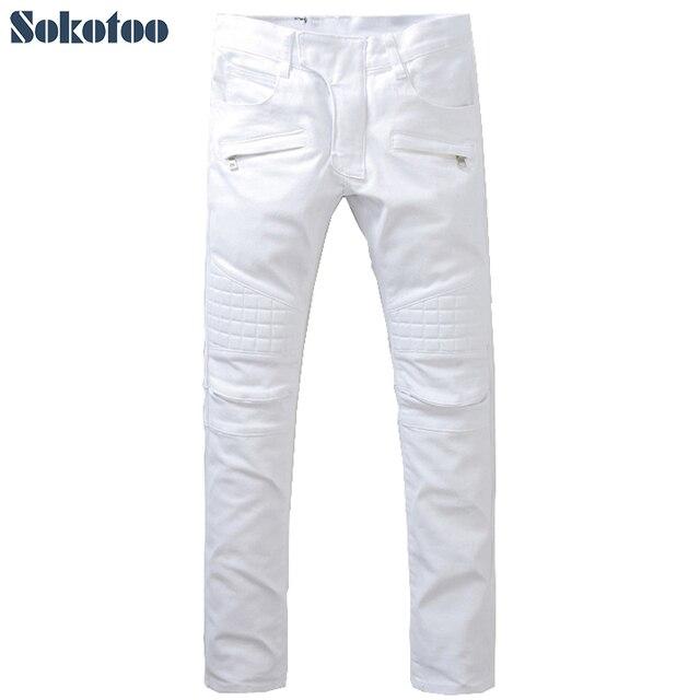 09d57012cc3 Sokotoo Men s slim pure white large size biker jeans Fashion casual  patchwork denim pants Long trousers