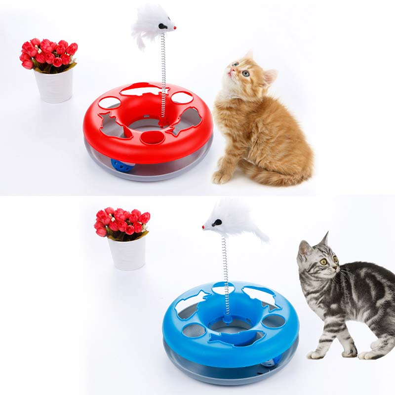 1PC Mouse Spring Cat Toy Single Layer Amusement Plate Cat Training Turntable Interactive Toy 2018ing