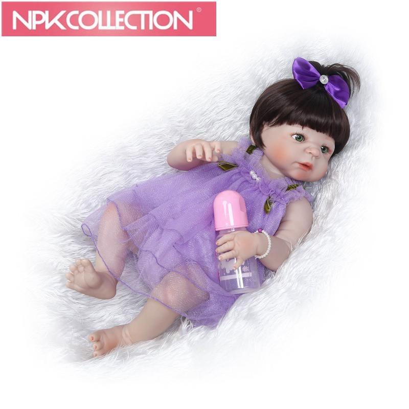 "2018 new22"" Full Silicone  Reborn Girl Baby Doll Toys  Newborn Princess Babies Doll black Hair Birthday Gift Kids Brinquedos"