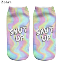 Zohra 2016 Cute Neon socks 3D Printing Female socks Women Low Cut Ankle Socks calcetines mujer Casual Hosiery Printed Sock