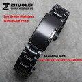 Nueva venda de reloj mujeres hombres 14 mm 16 mm 18 mm 20 mm 22 mm 24 mm hebilla negro Stainless Steel Watch Band correa extremo recto pulsera