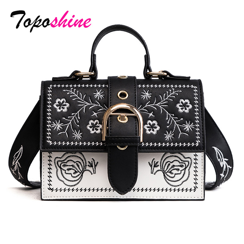 Toposhine Fashion Women Bag Panelled Vintage Flower Girls Bags For Girls Black PU Leather Women Messenger Bags Drop Shipping