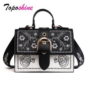 Image 1 - Toposhine Fashion Women Bag Panelled Vintage Flower Girls Bags for Girls Black PU Leather Women Messenger Bags Drop Shipping