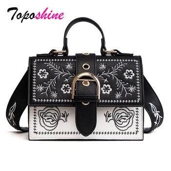 Toposhine Mode Vrouwen Tas Panelled Vintage Bloem Meisjes Zakken voor Meisjes Zwart PU Leer Vrouwen Messenger Bags Drop Shipping