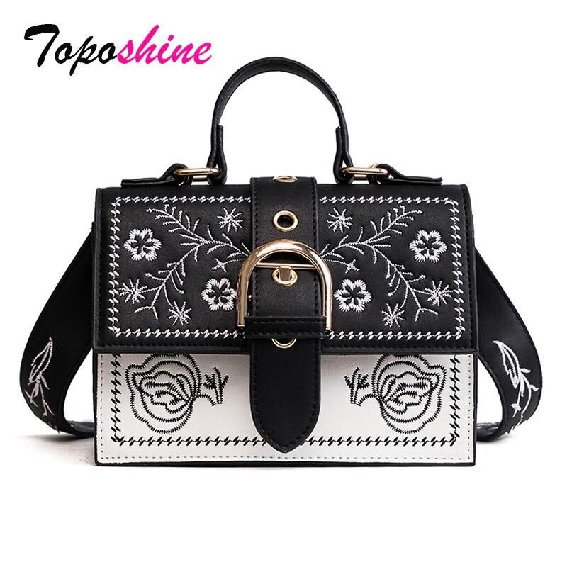 Toposhine moda bolso de mujer paneles Vintage niña de las flores para niñas Negro PU de cuero, bolsas de mensajero para mujeres, envío de la gota