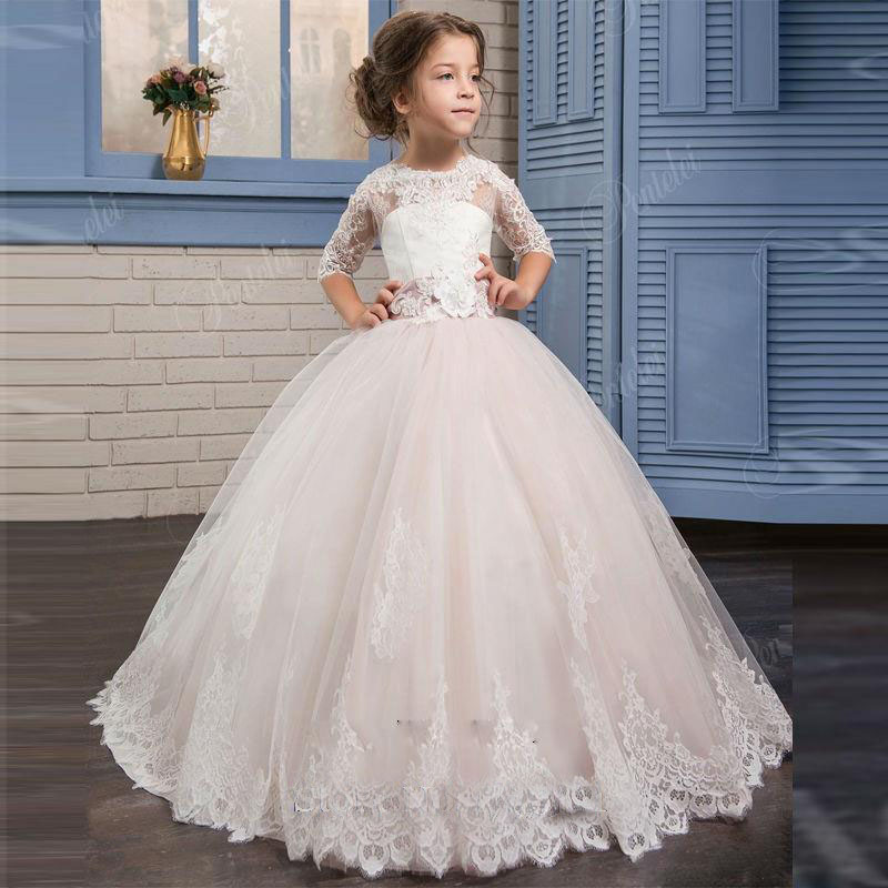 Little Girls Wedding Gowns: 2017 White Flower Girl Dresses Ball Gown With Appliques