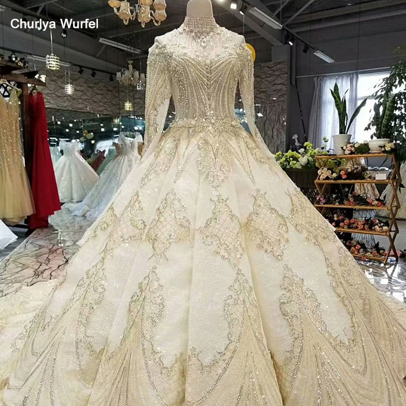 LS17233 Royal Golden Lace Wedding Gown With Crystal Necklace O Neck Long Sleeve Bride Wedding Dresses Real Price China Wholesale