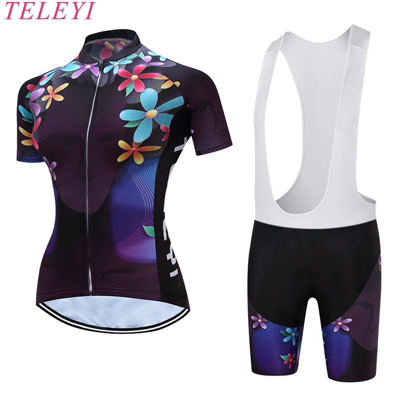 TELEYI Women Cycling Wear Bike Jersey Short Sleeve Clothing Team Sports Ropa Ciclismo Bicycle Set Bib Shorts Purple Size XS 4XL
