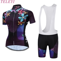 TELEYI Women Cycling Wear Bike Jersey Short Sleeve Clothing Team Sports Ropa Ciclismo Bicycle Set Bib