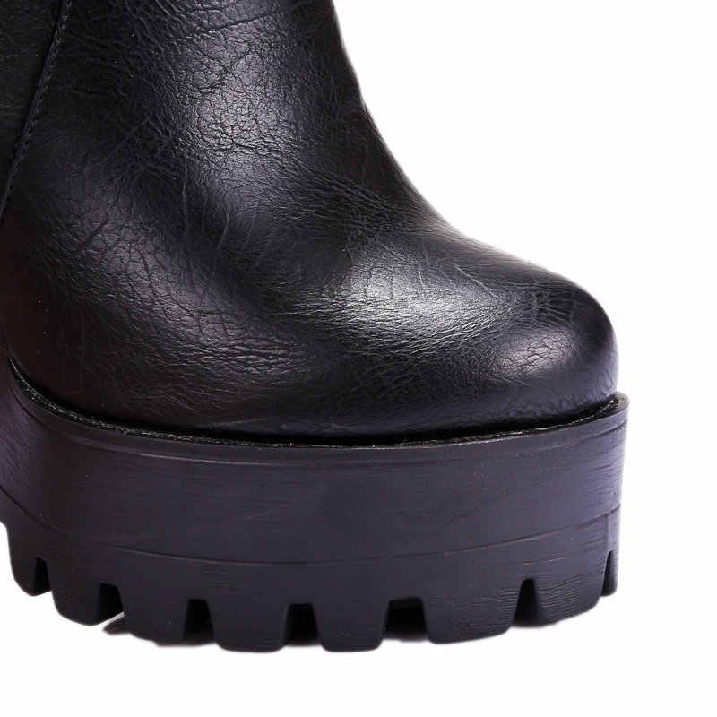 2019 mujeres super tacones altos botas de vestir zapatos de mujer plataforma primavera otoño botas de tobillo Mujer talla grande 41 42