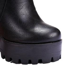 Image 4 - 2019 women super high heels boots  dress shoes woman platform spring autumn ankle boots woman large size 41 42