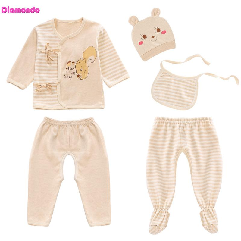 5pcs New Comfortable Cute Infant Newborn Baby Clothes Set Cotton Hat Bib Tops Wrapped Feet Pants Trousers Outfits for 0-3M