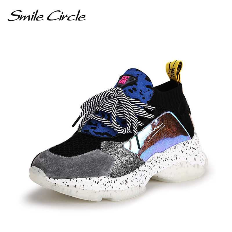 Sneakers Véritable Femmes Plates Noir Tricot Légères Cercle forme Printemps Cuir Décontracté Chaussures Respirant Dames rose kaki Plate 2019 Sourire vert 5qx0IEww